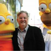 Bart Simpson, Matt Groening y Homero Simpson.