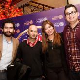Andrés Salazar 'Balta', El Profe, Pipe Reyes y su novia en la Fiesta de la Radio Nacional de Colombia. Diciembre de 2014.