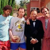 Samuel L Jackson, John Travolta, Harvey Keitel y Quentin Tarantino en Pulp Fiction