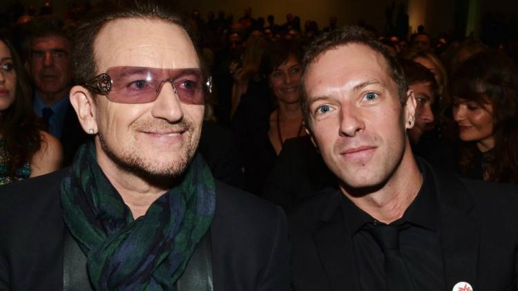 Bono y Chris Martin. Foto tomada de Coldplaying