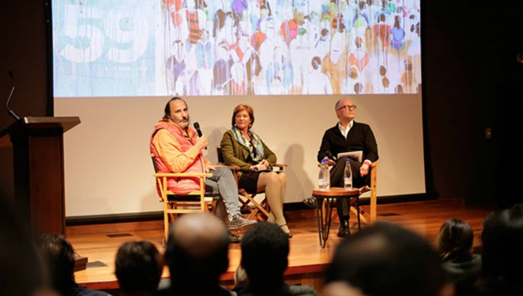 Felipe Aljure (director artístico), Claudia Triana de Vargas (directora de Proimágenes Colombia) y Julián David Correa (Director de Cinematografía del Ministerio de Cultura)
