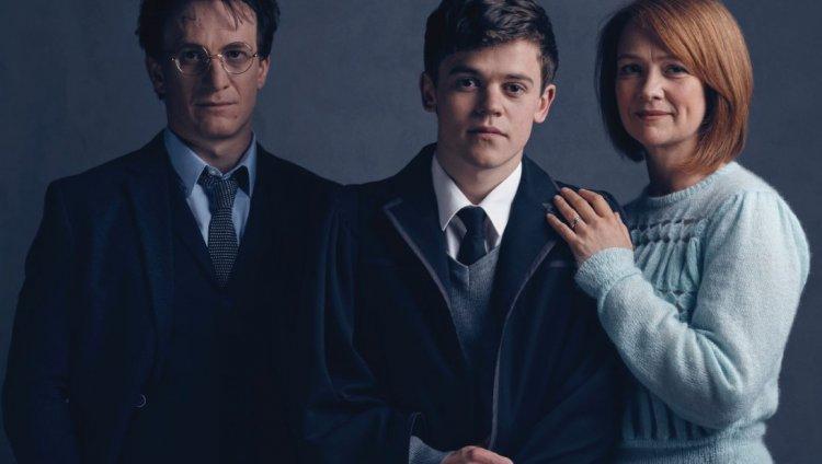 Harry Potter, su hijo Albus Severus Potter y su esposa, Ginny Weasley.