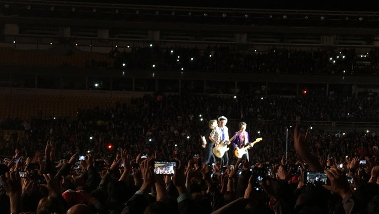Mick Jagger, Charlie Watts, Ron Wood en el Estadio El Campín (Foto: Juan Felipe Reyes)
