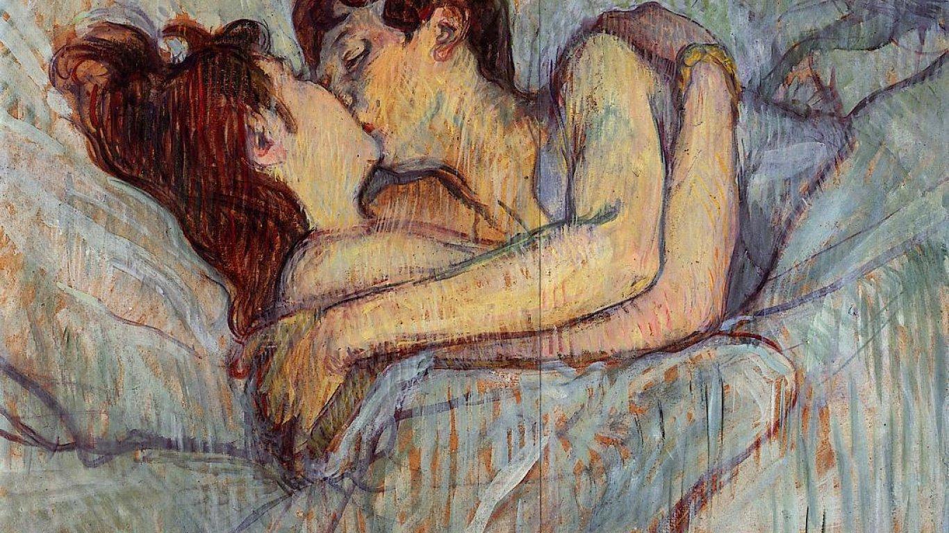 'En la cama: El beso' - Toulouse Lautrec