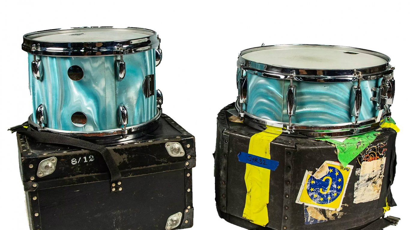 Gretsch Round Badge Snare & Tom Aqua Satin Flame