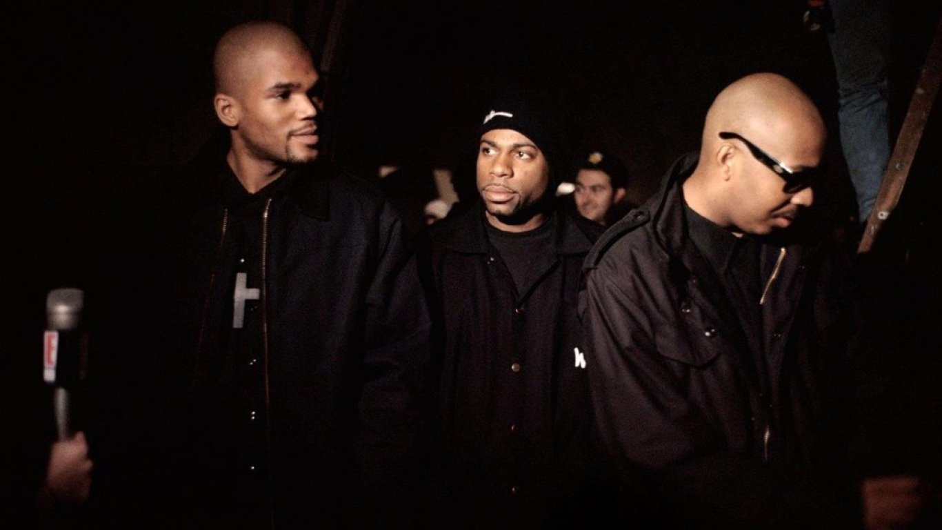 "Run-DMC en el set del video ""Down With The King"""