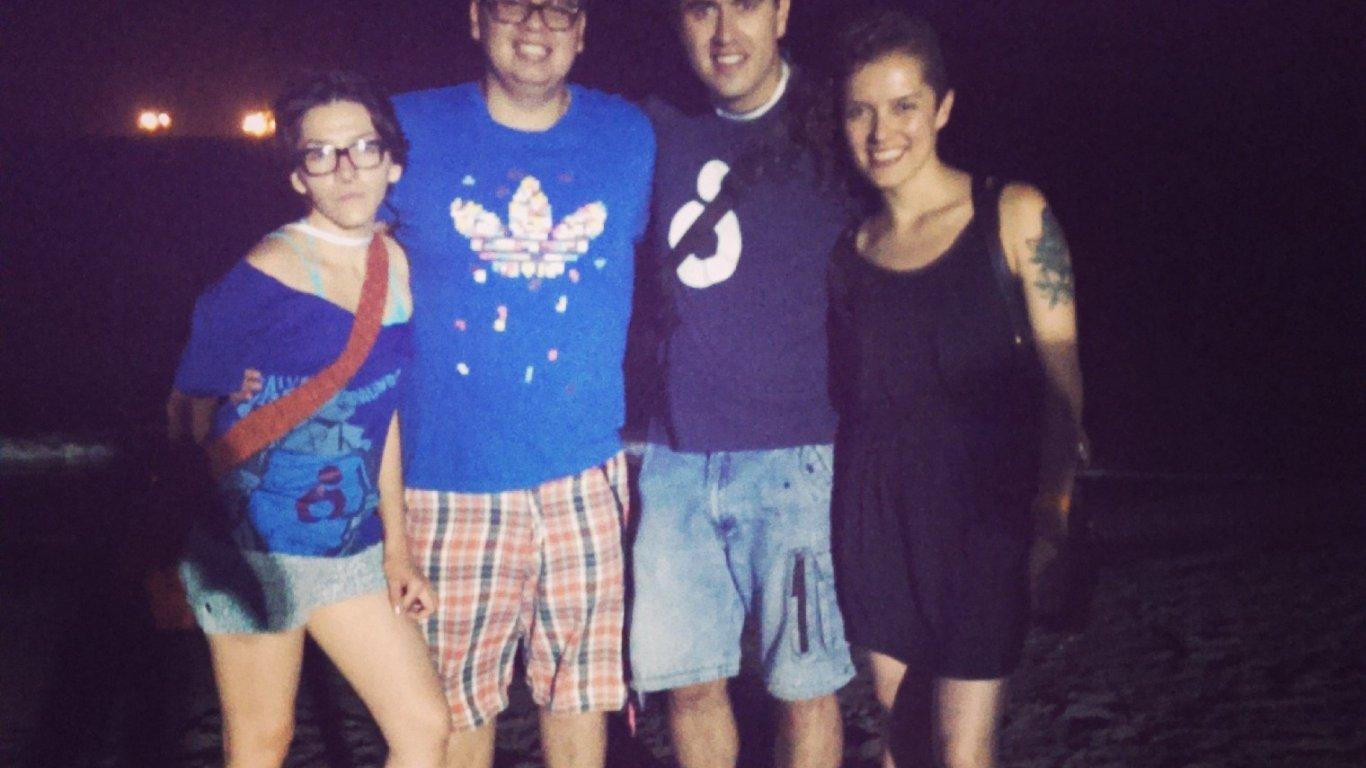 Diana Bejarano, Pipe Reyes, Sebastián González (proyectos) y Simona Sánchez en el cubrimiento del Sierra Mar Fest en Santa Marta. 2014.