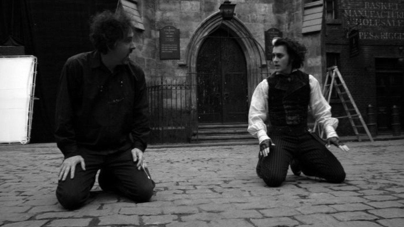 "Tim Burton y Johnny Depp en ""Sweeney Todd"""